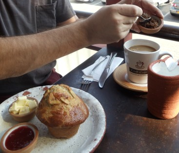 These giant muffins at the Craft Cafe in Windhoek are filled with seeds and dried fruit, and are wonderful accompanied by a hot mug of coffee with brown sugar and steamed milk.