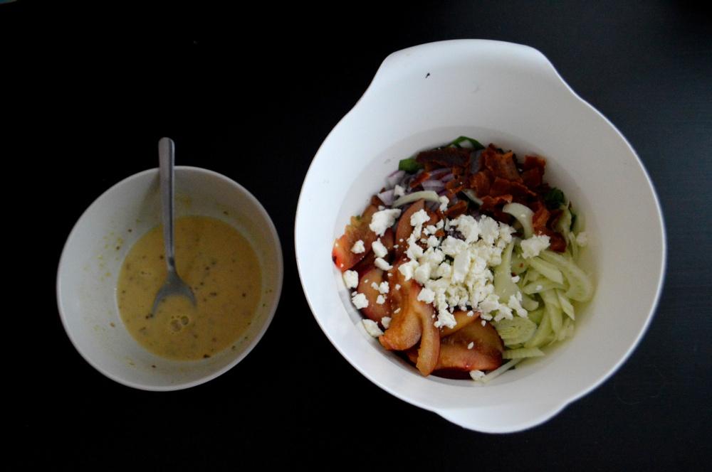 Summer Salad with Basil Peach Vinaigrette