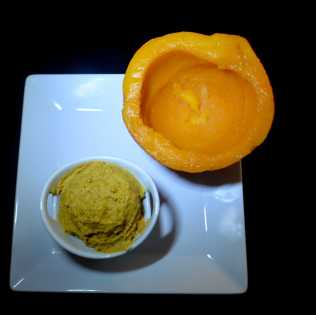 I used fresh roasted Kobacha Pumpkin for a bright orange color.
