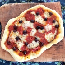 PIzza with Salami and Sicilian Olives